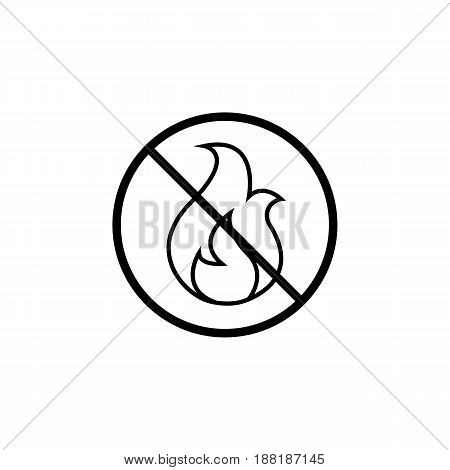 No fire line icon, warning prohibition sign, forbidden no open flame, vector graphics, a linear pattern on a white background, eps 10.