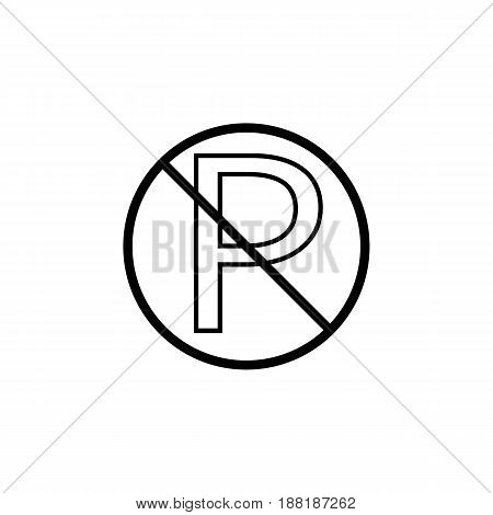 No parking line icon, prohibition sign, forbidden warning traffic, vector graphics, a linear pattern on a white background, eps 10.