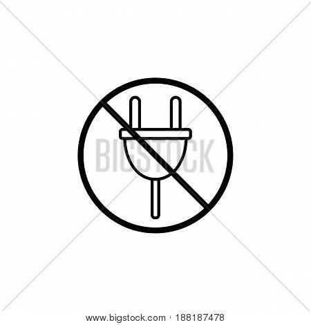 Do not plug line icon, prohibition sign, forbidden don't connect, vector graphics, a linear pattern on a white background, eps 10.