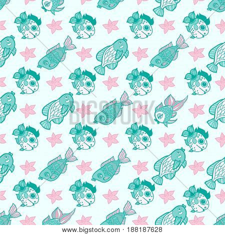 Fabric textile seamless pattern with sea fishes vector illustration