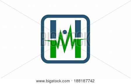 Medical Heartbeat Signal Letter M H