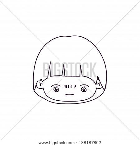 monochrome silhouette of kawaii head of little boy with facial expression bored vector illustration