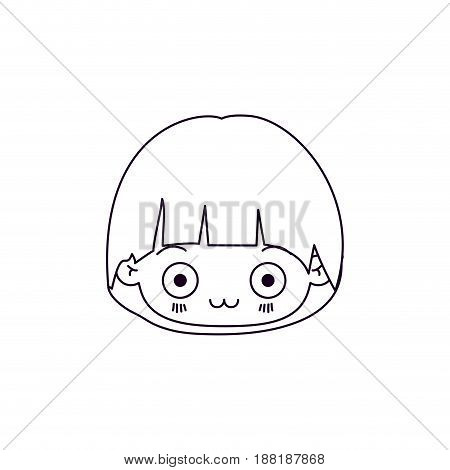 monochrome silhouette of facial expression surprised kawaii little girl vector illustration