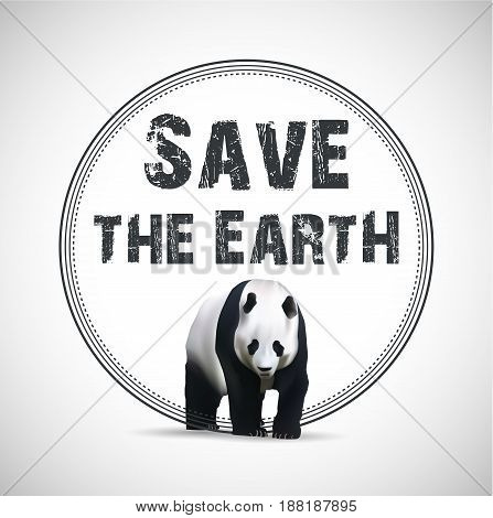 Save the Earth. Vector illustration with panda