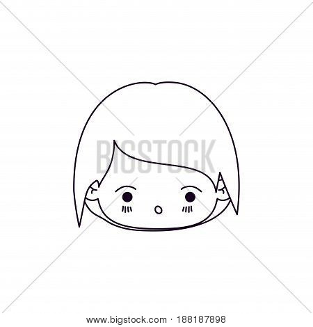 monochrome silhouette of facial expression kawaii little cute girl vector illustration
