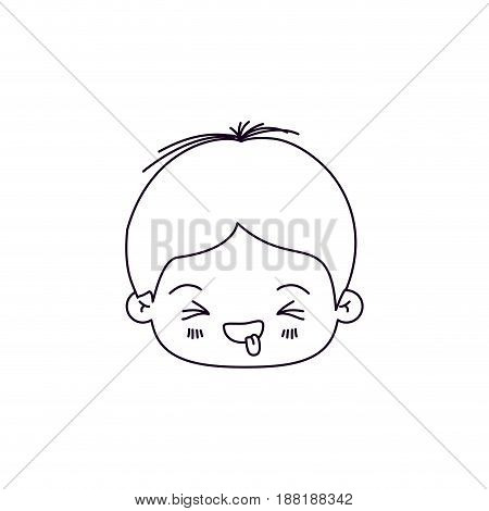monochrome silhouette of facial expression disgust kawaii little boy vector illustration