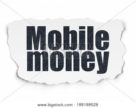 Currency concept: Painted black text Mobile Money on Torn Paper background with  Tag Cloud