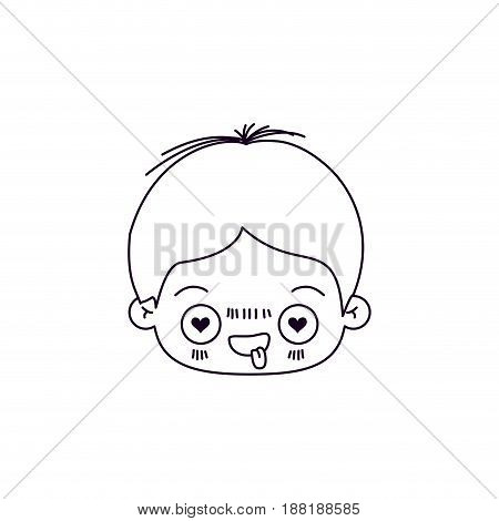 monochrome silhouette of facial expression enamored kawaii little boy vector illustration