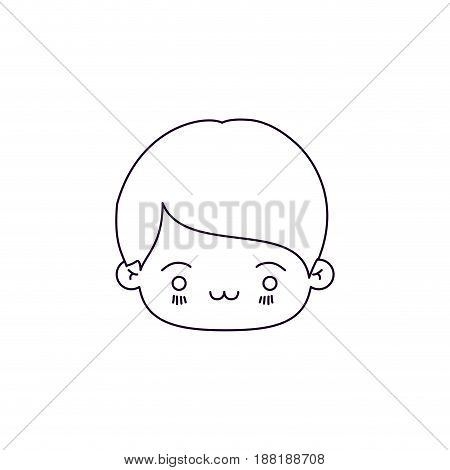 monochrome silhouette of facial expression exhausted kawaii little boy vector illustration