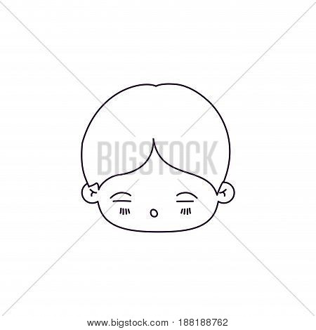 monochrome silhouette of facial expression asleep kawaii little boy vector illustration