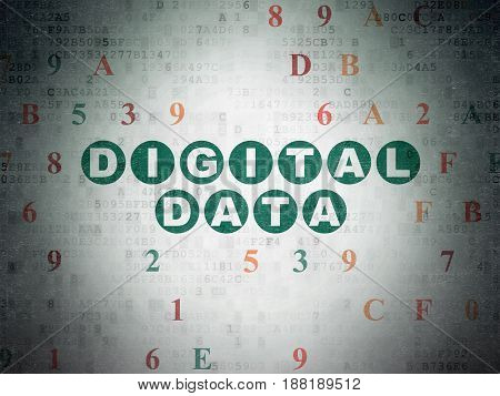 Data concept: Painted green text Digital Data on Digital Data Paper background with Hexadecimal Code
