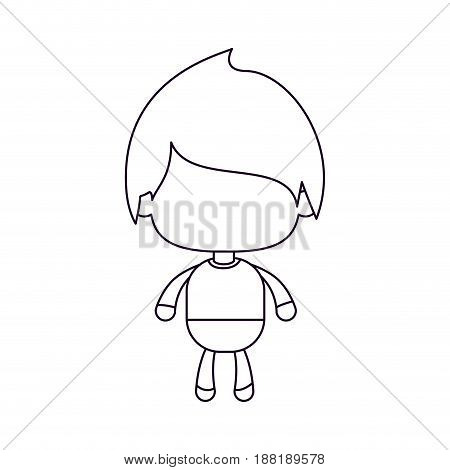 monochrome silhouette of faceless little boy with straight hair vector illustration