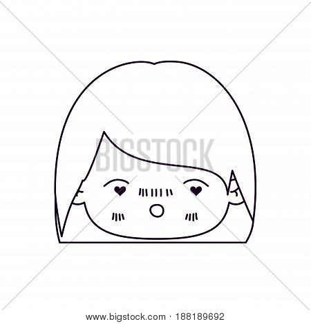 monochrome silhouette of facial expression enamored kawaii little girl with short hair vector illustration