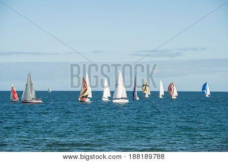 Melbourne, AUSTRALIA - JULY 18 2015: The group of Sailboat at Brighton beach, Melbourne, Australia.