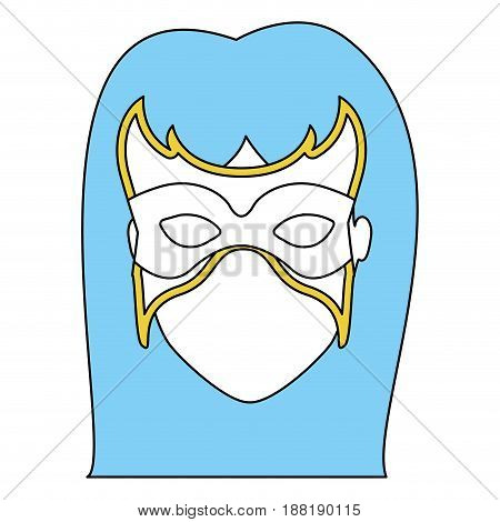 silhouette with face of woman superhero with blue long hair and mask vector illustration
