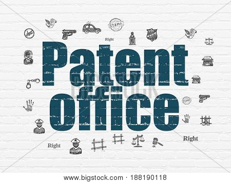 Law concept: Painted blue text Patent Office on White Brick wall background with  Hand Drawn Law Icons