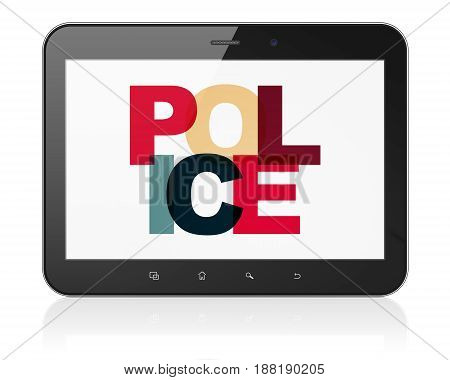 Law concept: Tablet Computer with Painted multicolor text Police on display, 3D rendering