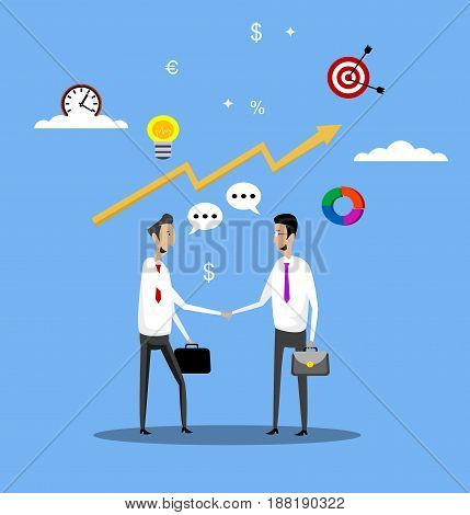 Concept of businessmen successful deal agreement with partners handshake. Vector flat design