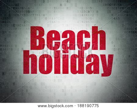 Tourism concept: Painted red word Beach Holiday on Digital Data Paper background