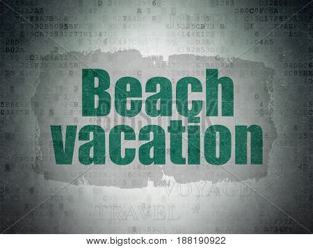Vacation concept: Painted green text Beach Vacation on Digital Data Paper background with   Tag Cloud
