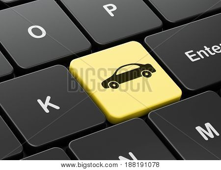 Tourism concept: computer keyboard with Car icon on enter button background, 3D rendering