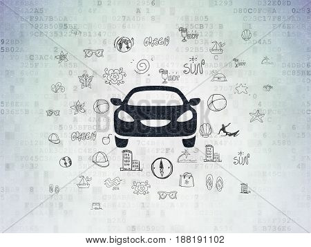 Vacation concept: Painted black Car icon on Digital Data Paper background with  Hand Drawn Vacation Icons