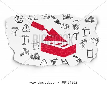 Building construction concept: Painted red Brick Wall icon on Torn Paper background with  Hand Drawn Building Icons