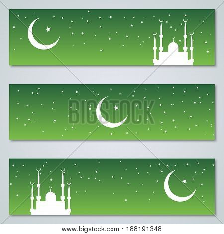 Green islamic style silhouette banners vector collection