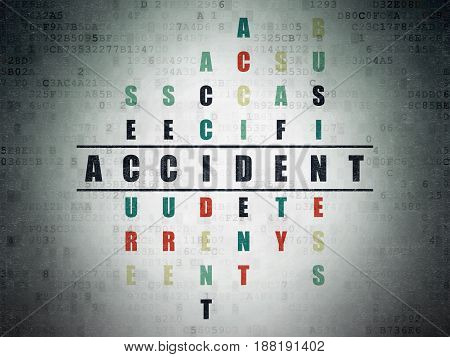 Insurance concept: Painted black word Accident in solving Crossword Puzzle on Digital Data Paper background