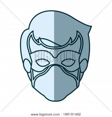 blue silhouette with face of guy superhero with mask vector illustration
