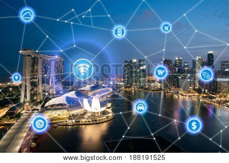 Smart city and wireless communication network business district with office building abstract image visual internet of things concept