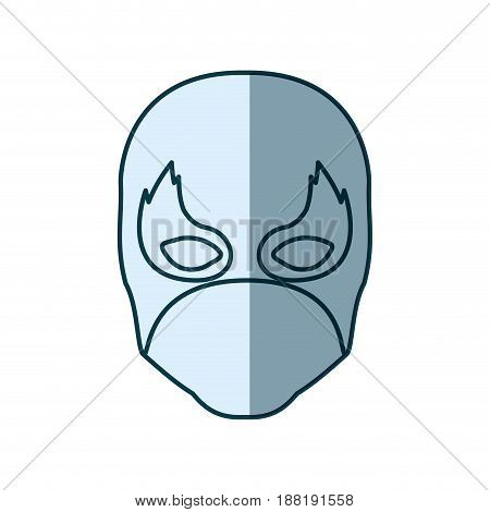 blue silhouette with face of man superhero and middle mask and shape of flame around the eyes vector illustration