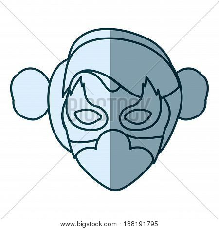 blue silhouette with face of woman superhero with collected hair and mask vector illustration