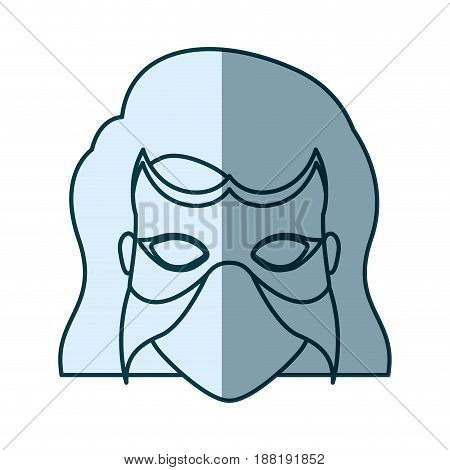 blue silhouette with face of woman superhero with short hair and mask vector illustration