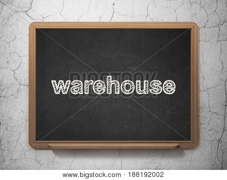 Industry concept: text Warehouse on Black chalkboard on grunge wall background, 3D rendering