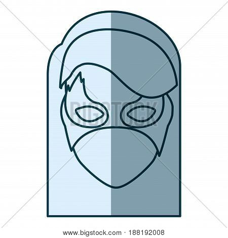 blue silhouette with face of girl superhero with hair straight and mask vector illustration