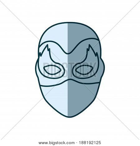 blue silhouette with face of female superhero with mask and flame eyes vector illustration