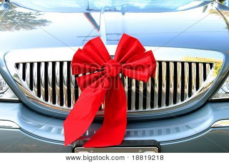 Christmas ribbon on the car