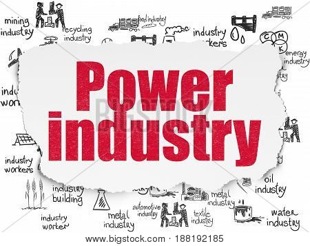 Industry concept: Painted red text Power Industry on Torn Paper background with  Hand Drawn Industry Icons