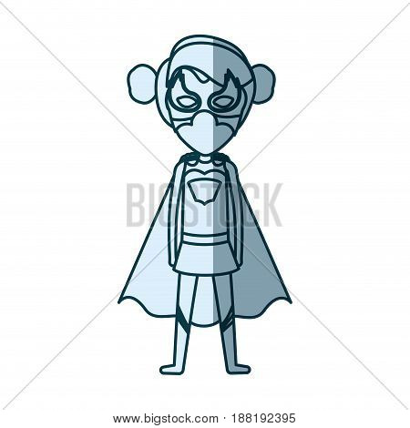 blue silhouette with standing girl superhero with collected hair vector illustration