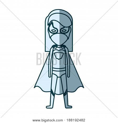blue silhouette with standing girl superhero with short straight hair vector illustration