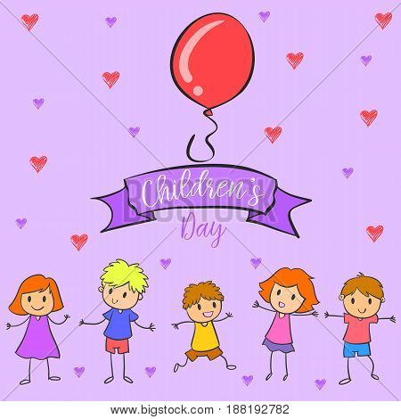 Collection colorful childrens day hand draw vector art