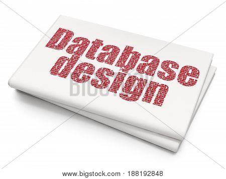 Programming concept: Pixelated red text Database Design on Blank Newspaper background, 3D rendering