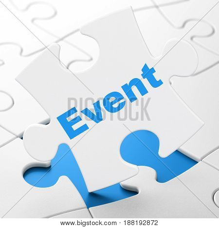Entertainment, concept: Event on White puzzle pieces background, 3D rendering