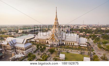 high angle view of wat laung phor sothorn most important religious traveling destination in thailand