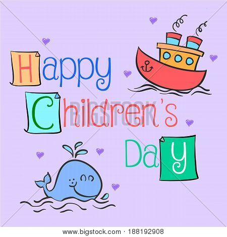 Happy childrens day hand draw vector art illustration