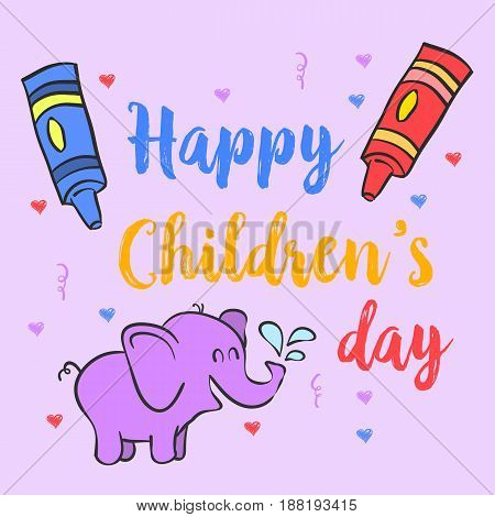Collection stock children day doodles vector illustration