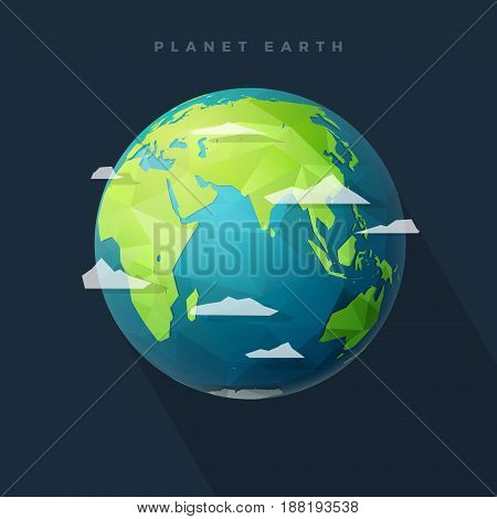 Polygonal Planet Earth eastern hemisphere globe with clouds