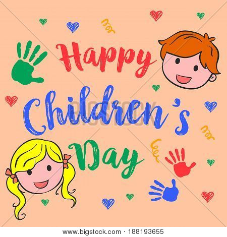 Happy children day cute style vector illustration