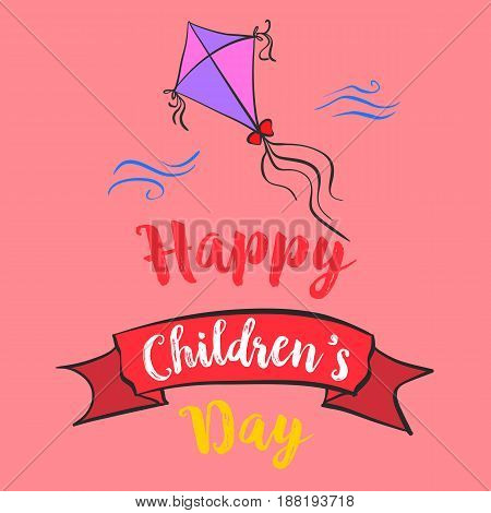 Happy childrens day cartoon style vector illustration